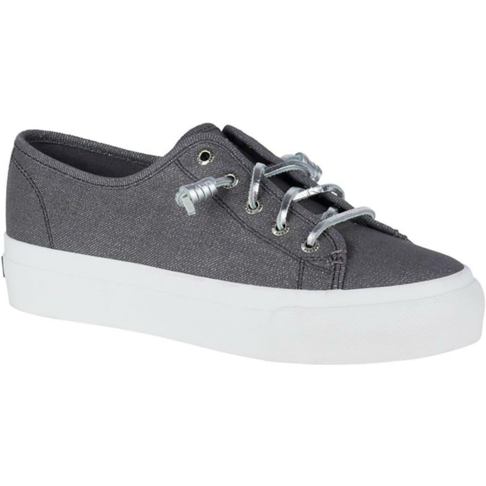 SPERRY Women's Sky Sail Metallic Twill Boat Shoes, Dark Grey - DARK GREY