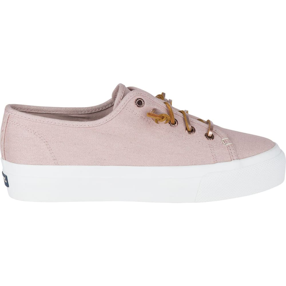 SPERRY Women's Sky Sail Metallic Twill Boat Shoes, Rose Dust - ROSE