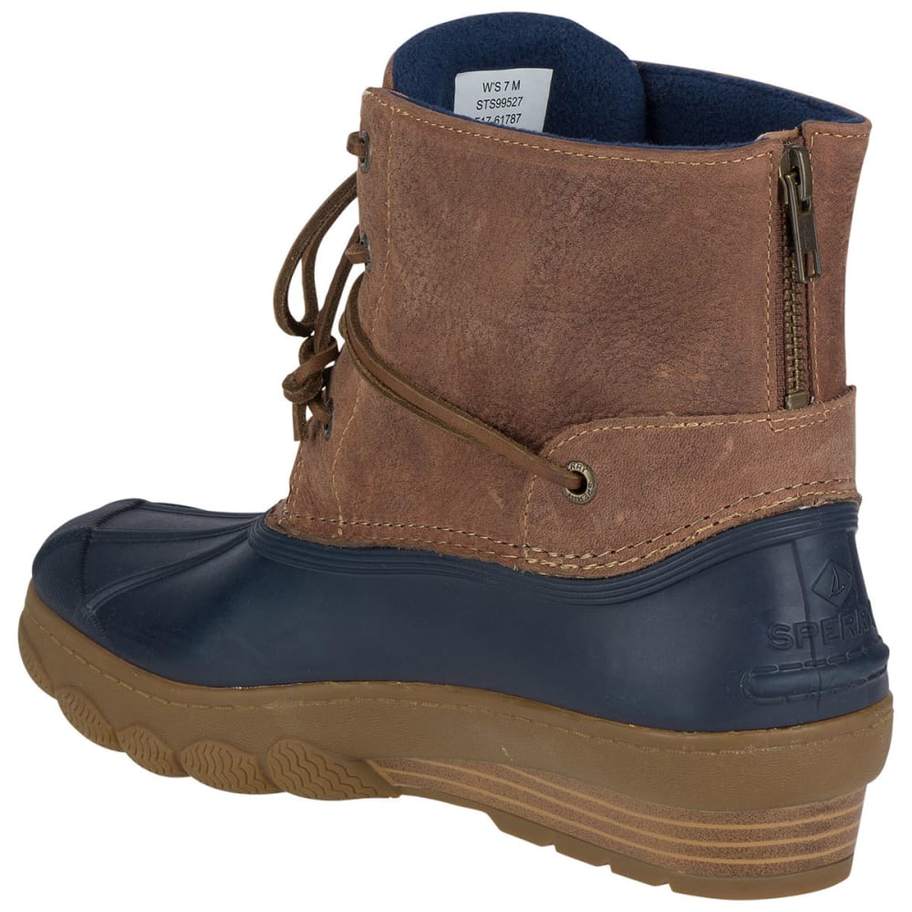 SPERRY Women's Saltwater Wedge Tide Waterproof Duck Boots, Navy/Tan - NAVY/TAN
