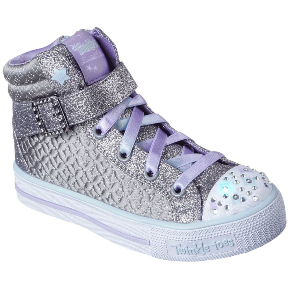 SKECHERS Girls' Twinkle Toes: Shuffles - Twinkle Charm High-Top Sneakers, Charcoal - CHARCOAL