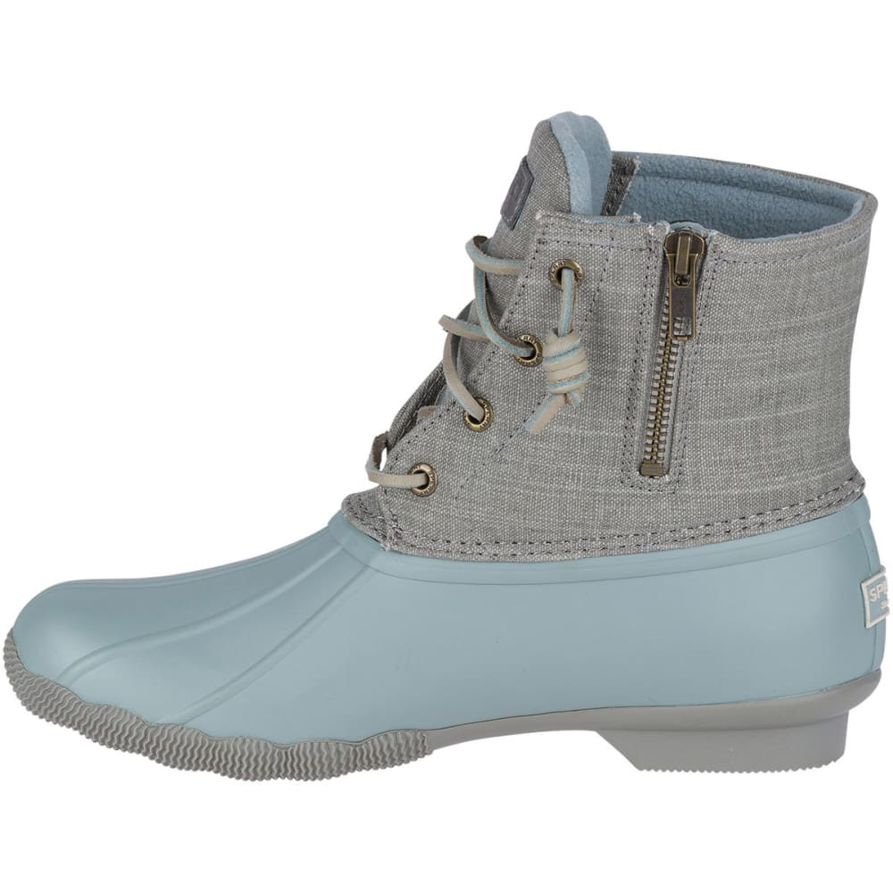 SPERRY Women's Saltwater Canvas Waterproof Mid Duck Boots, Abyss/Grey - GREY