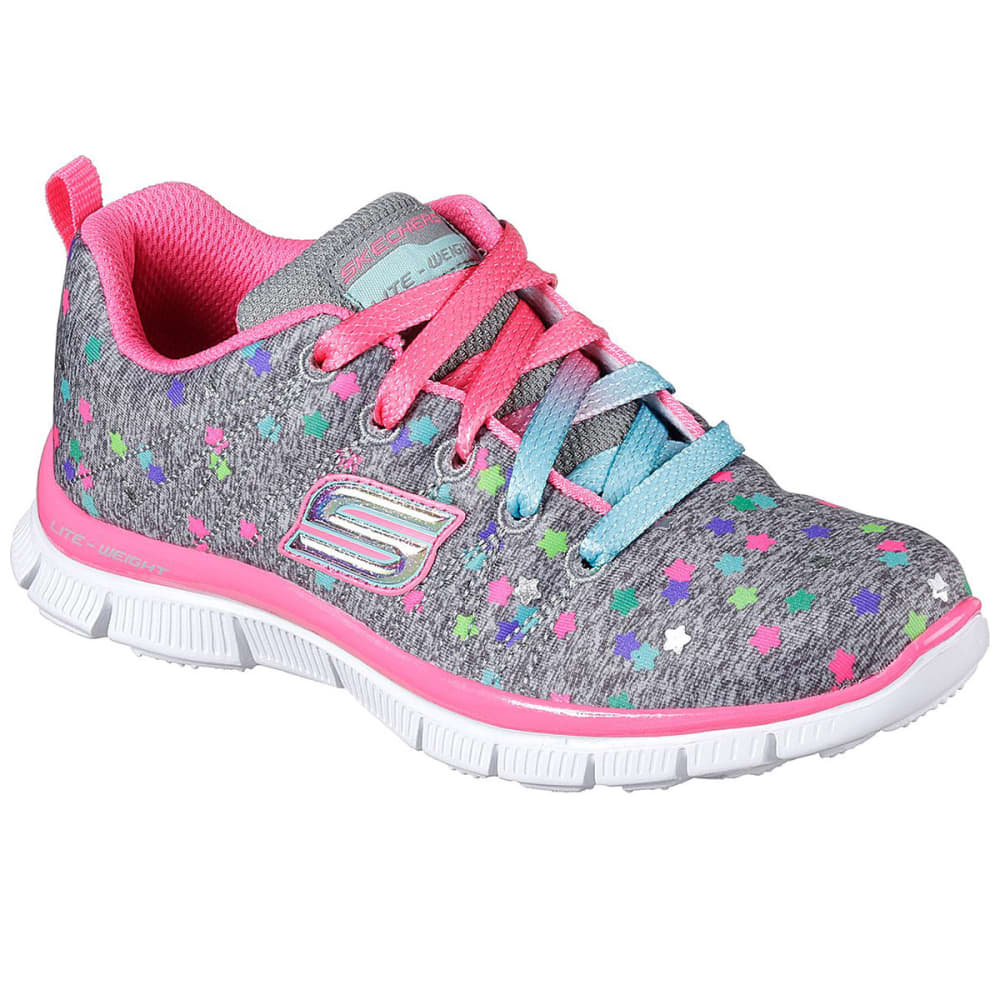 SKECHERS Girls' Skech Appeal – Star Streamer Sneakers, Gray/Mint - CHARCOAL