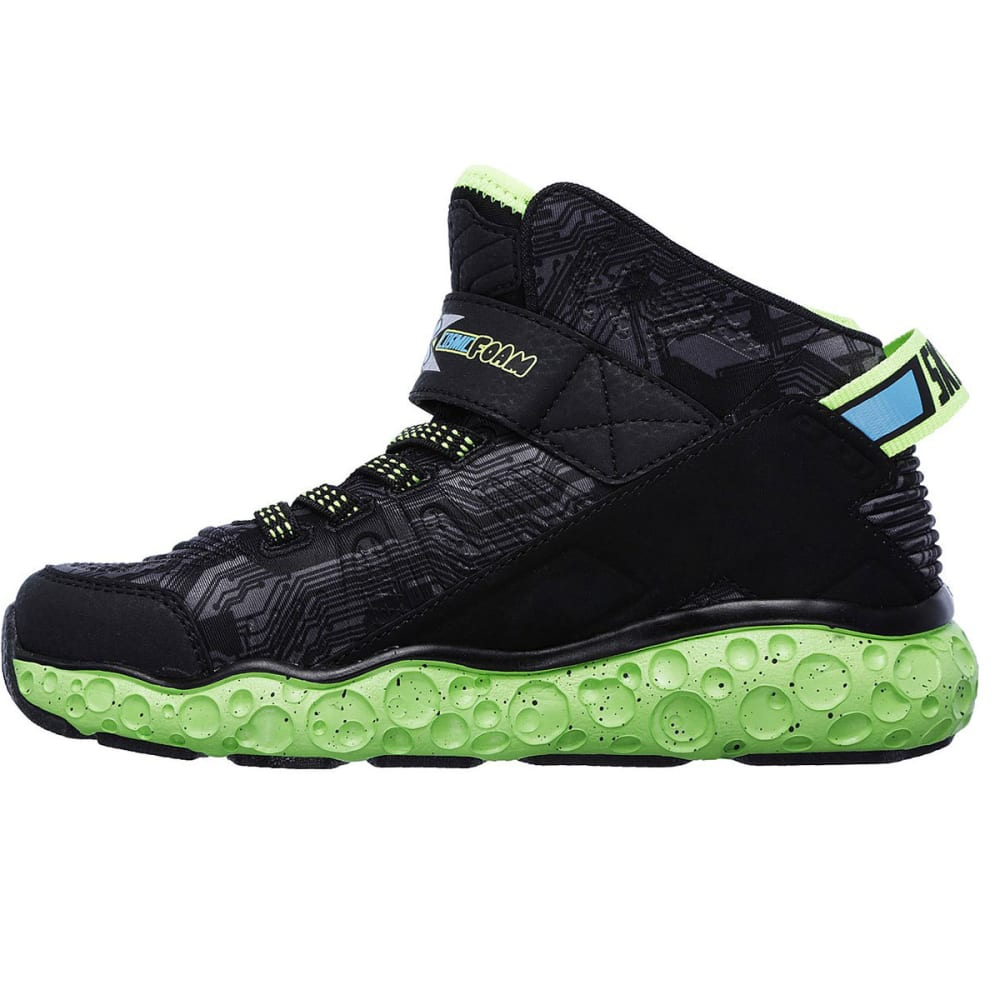 SKECHERS Boys' Cosmic Foam High-Top Sneakers, Black/Lime - BLACK