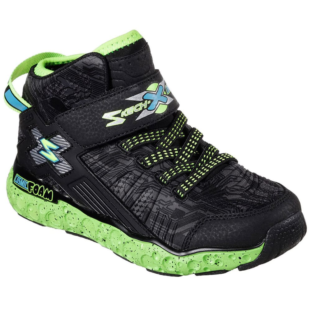 SKECHERS Boys' Cosmic Foam High-Top Sneakers, Black/Lime 1