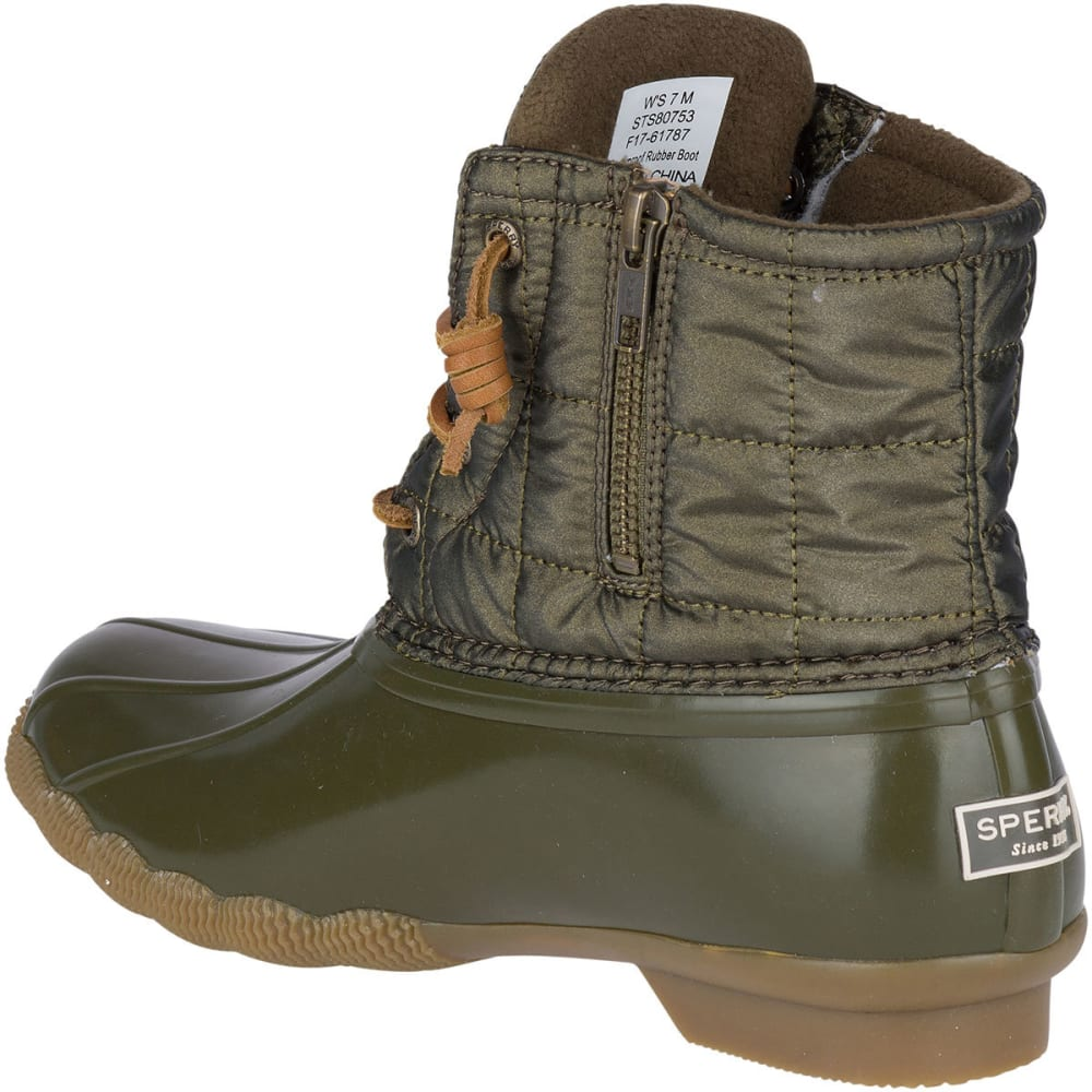 SPERRY Women's Saltwater Shiny Quilted Waterproof Mid Duck Boots, Dark Olive - DARK OLIVE