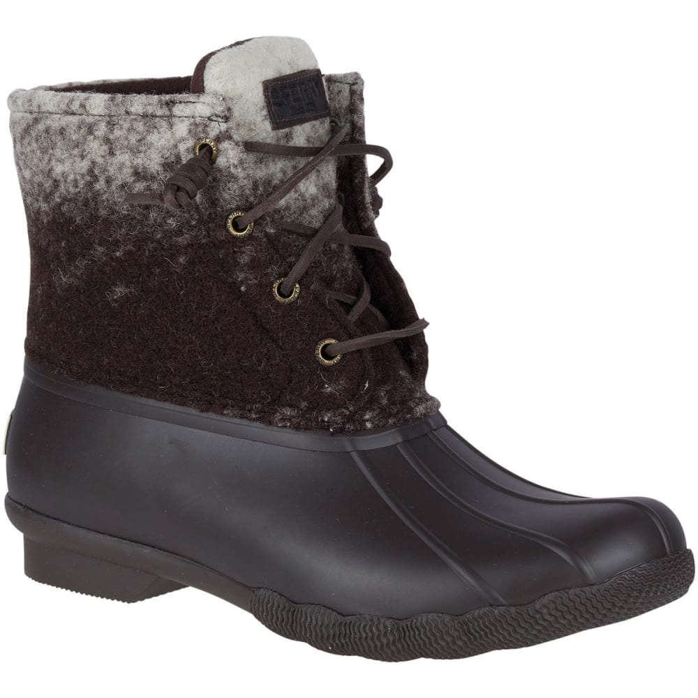 SPERRY Women's Saltwater Ombre Wool Waterproof Mid Duck Boots, Novelty Brown/Ivory - BROWN/IVORY