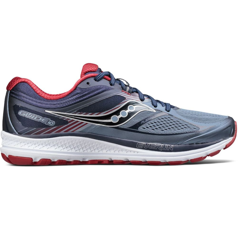 SAUCONY Men's Guide 10 Running Shoes, Grey/Black/Blue - GREY/NVY - 4