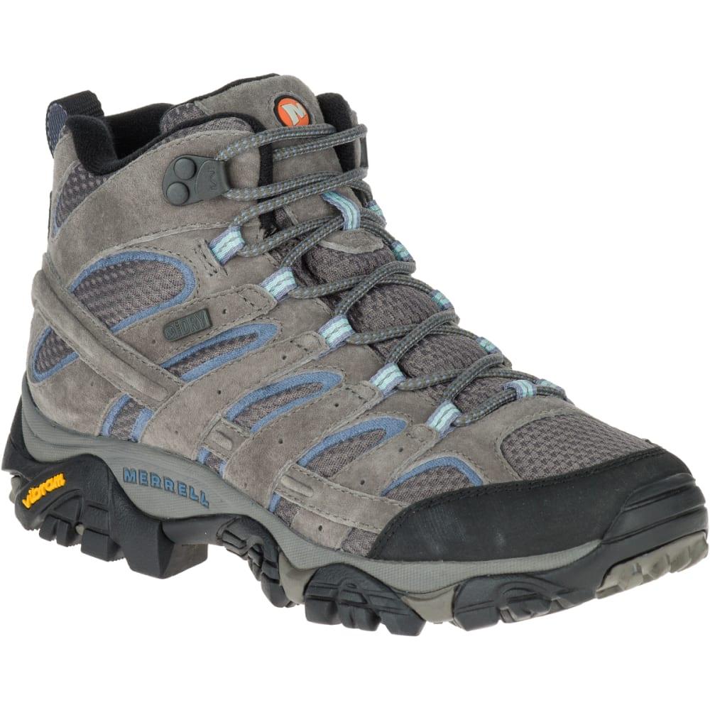 Merrell Women's Moab 2 Mid Waterproof Hiking Boots, Granite , Wide - Black, 6
