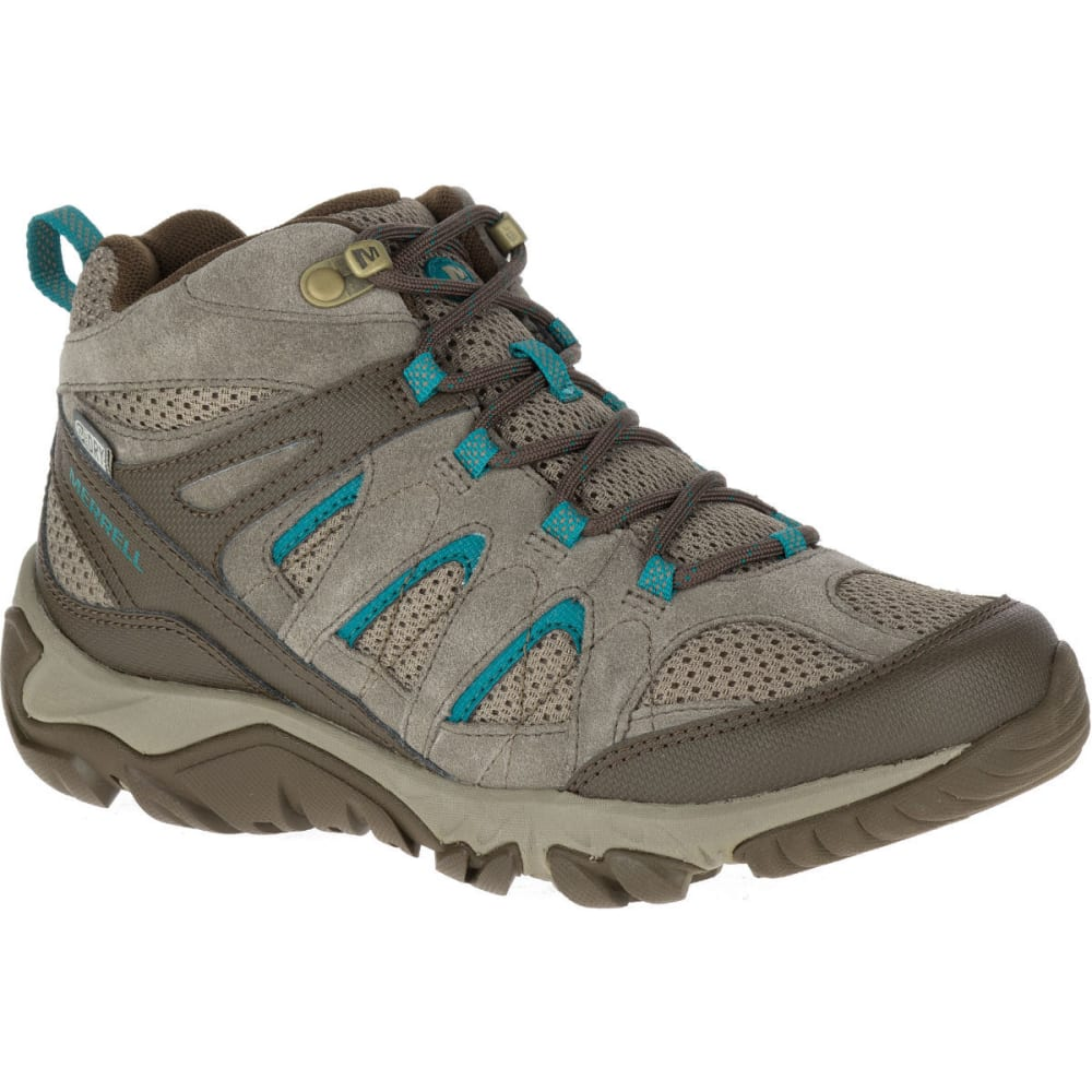 MERRELL Women's Outmost Mid Ventilator Waterproof Hiking Boots, Boulder - BOULDER