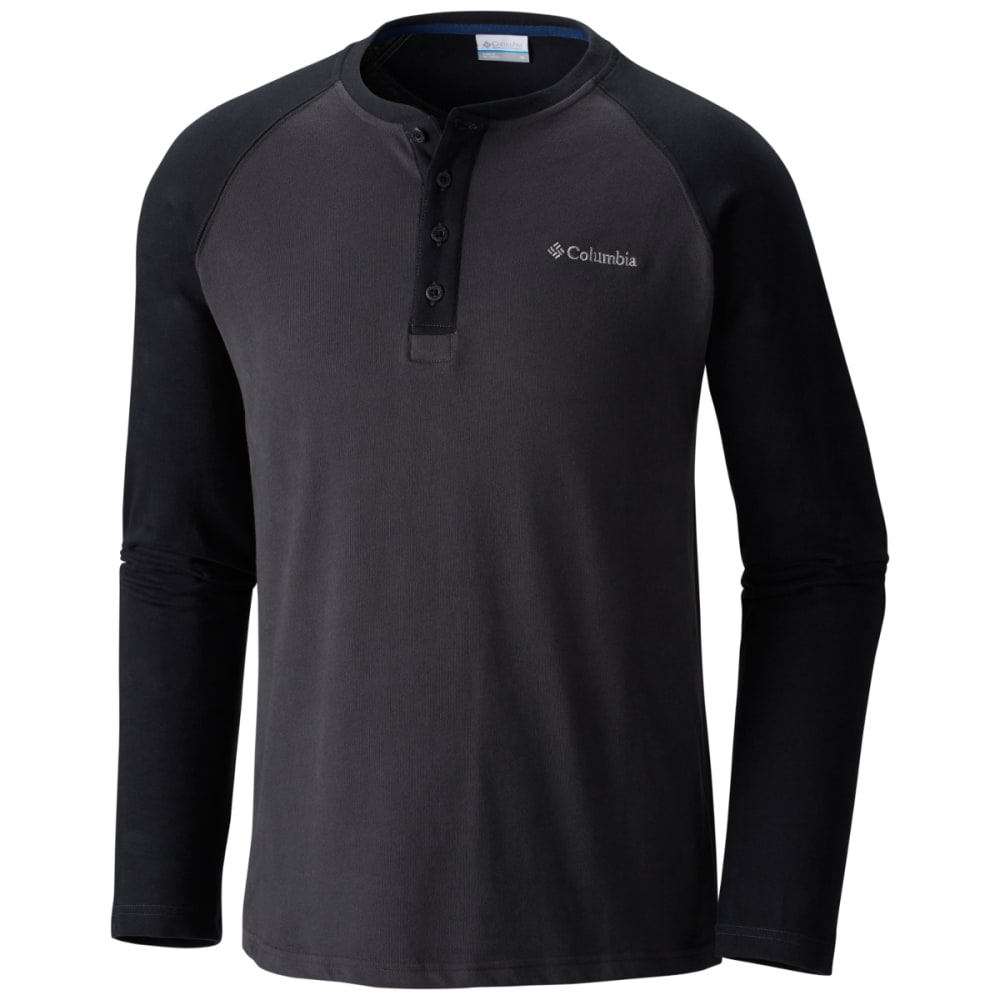 COLUMBIA Men's Ward River Long Sleeve Henley Shirt - SHARK/BLK-011