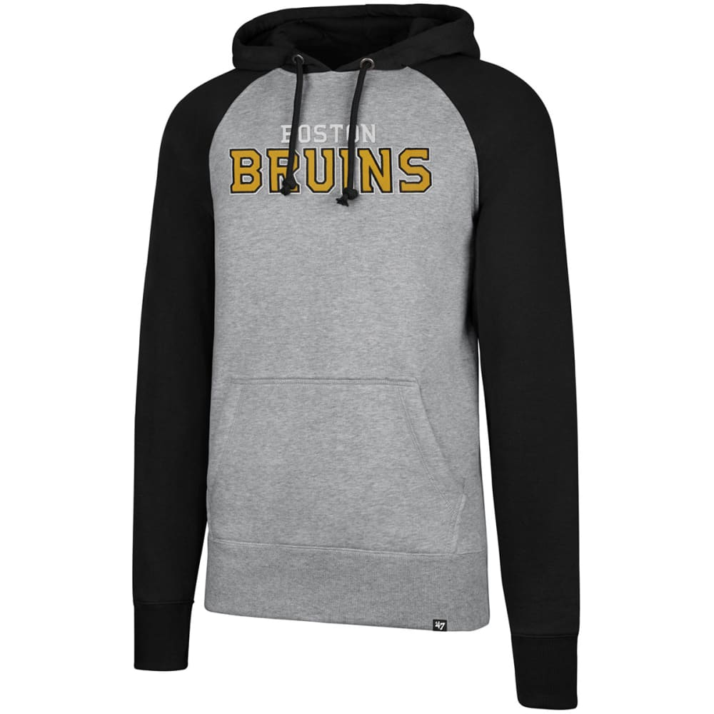 BOSTON BRUINS Men's Raglan Slate Sport Fleece Pullover Hoodie - GREY