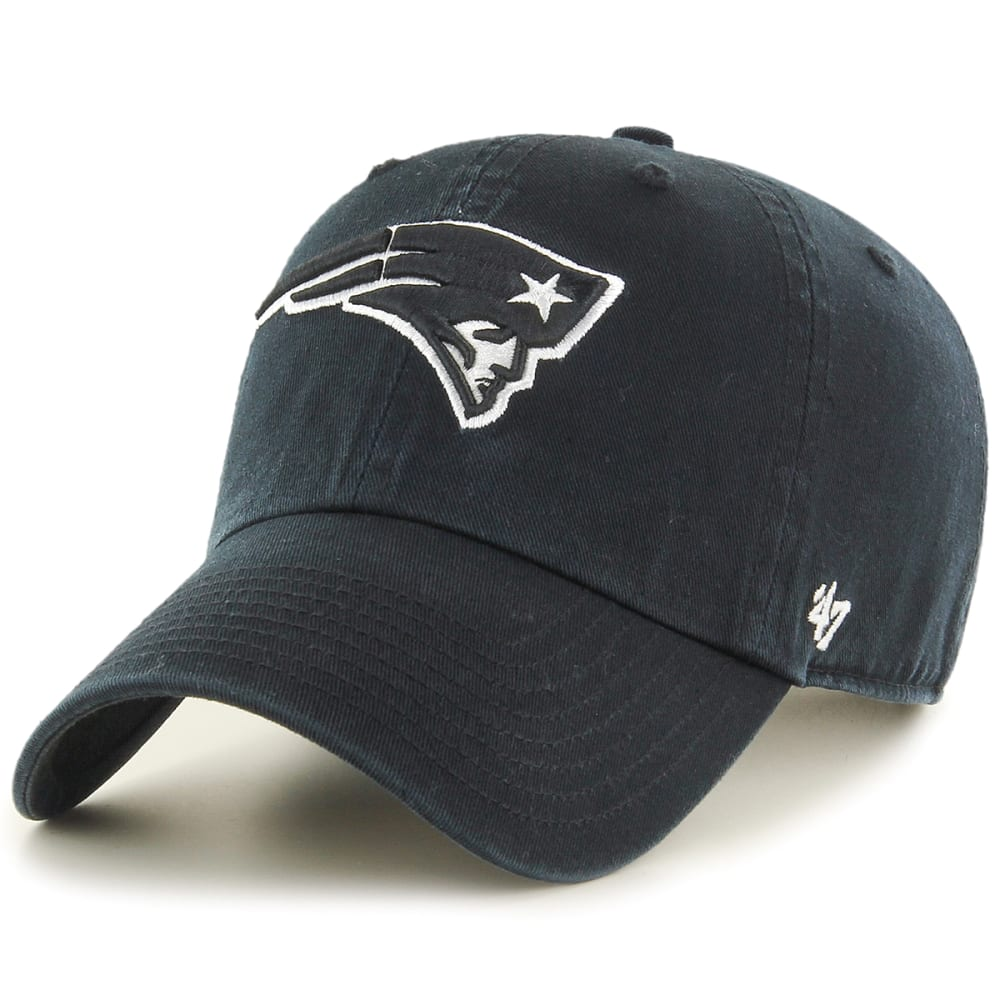 New England Patriots Men's 47 Clean Up Adjustable Cap, Black/white