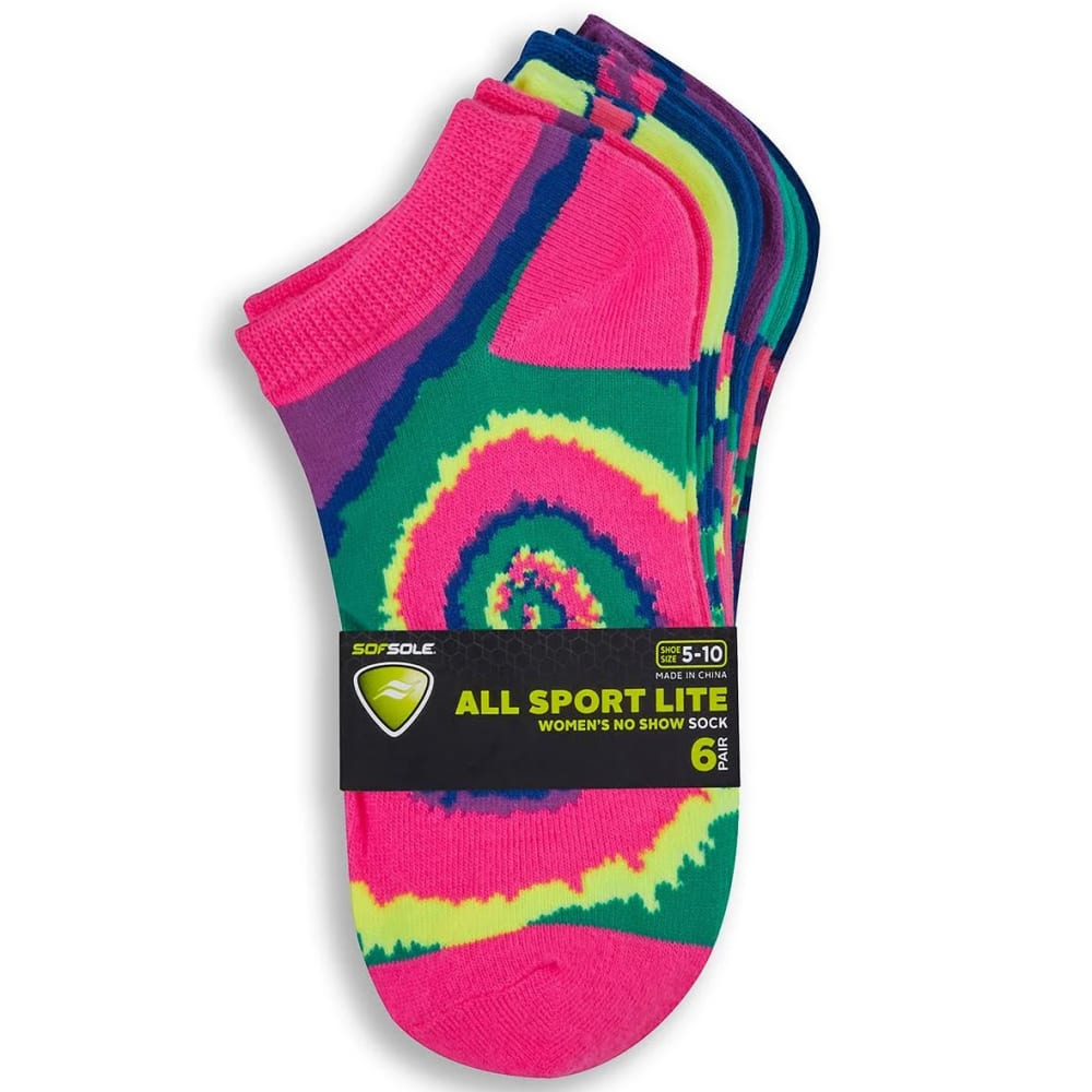 SOF SOLE Women's All Sport Lite Spiral Tie-Dye No-Show Socks, 6-Pack - ASSORTED
