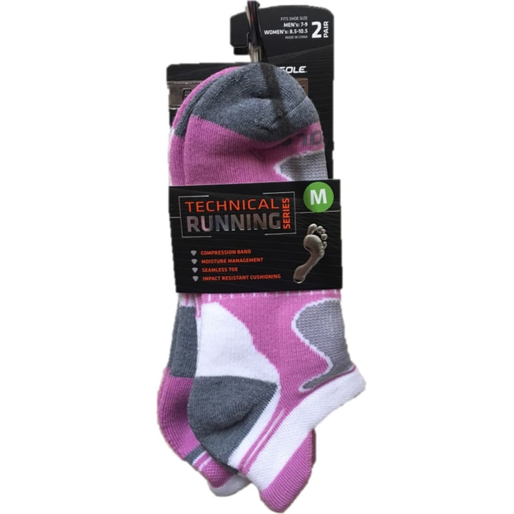 SOF SOLE Women's Technical Running Series No-Show Socks, 2-Pack - PINK/GREY