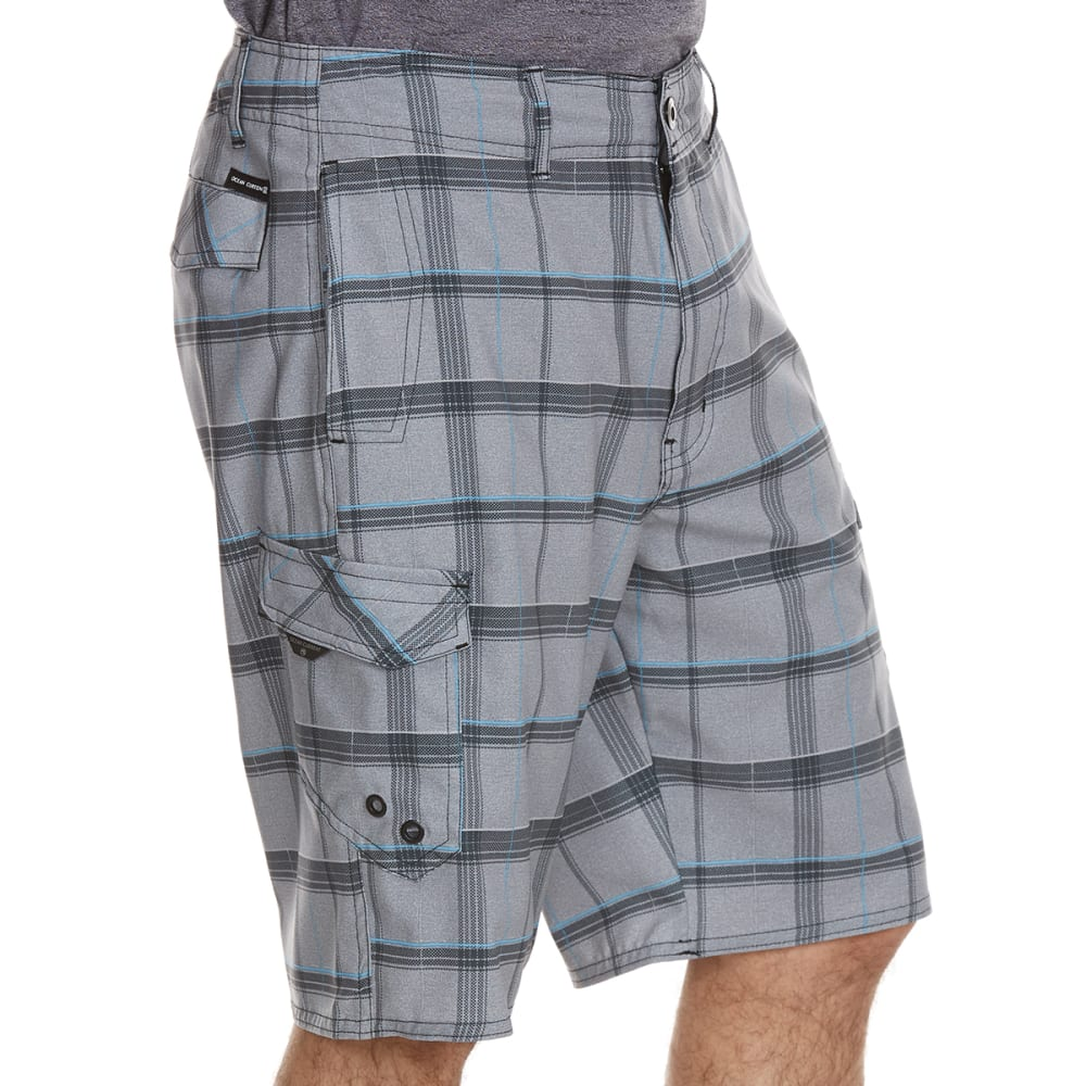 OCEAN CURRENT Guys' Amphibious Specter Plaid Cargo Shorts - GREY