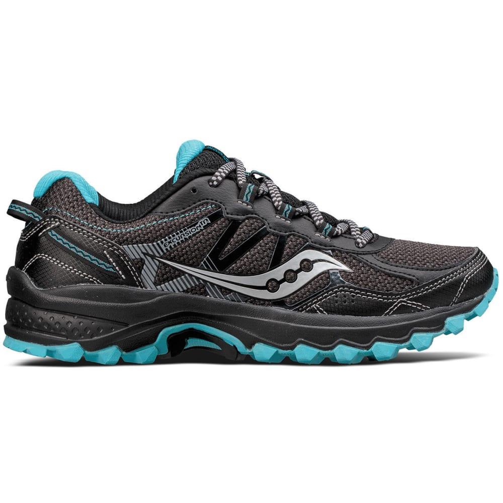 SAUCONY Women's Excursion TR11 Trail Running Shoes, Black/Blue - BLACK