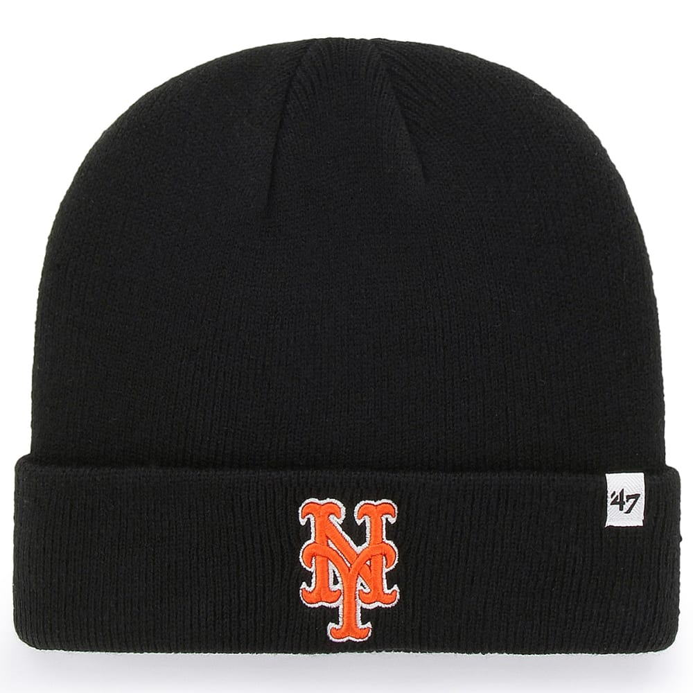 NEW YORK METS Men's '47 Raised Cuffed Beanie - BLACK