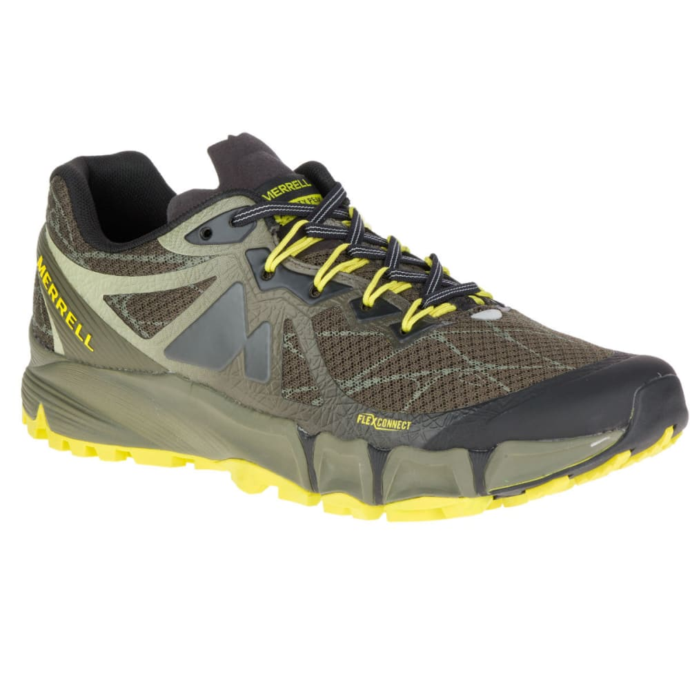 Merrell Men's Agility Peak Flex Trail Running Shoes, Beluga/olive - Green, 8