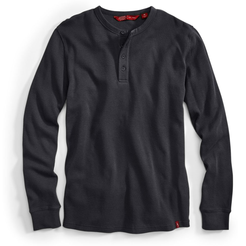 EMS Men's Rowan Waffle Henley Long-Sleeve Shirt - BLACK