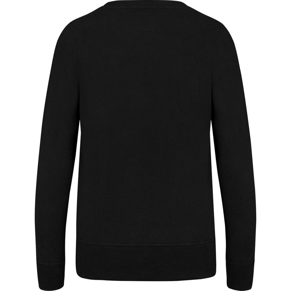 BOSTON BRUINS Women's Sparkle '47 Headline Crew Fleece Long-Sleeve Pullover - BLACK