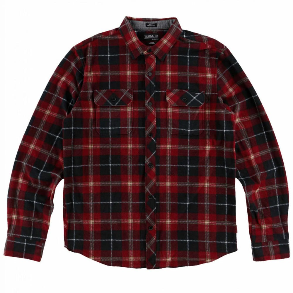 O'neill Guys' Glacier Plaid Long-Sleeve Shirt - Black, S
