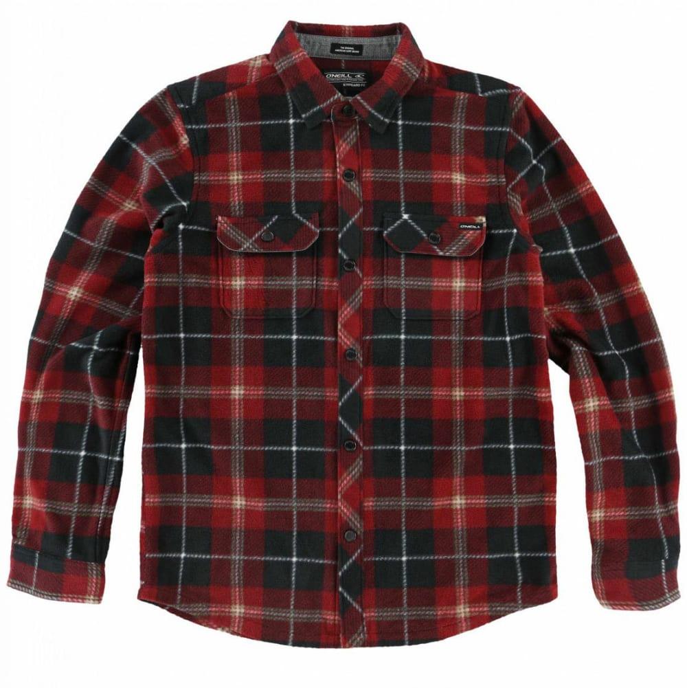 O'NEILL Boys' Glacier Plaid Long-Sleeve Shirt - BLK-BLACK