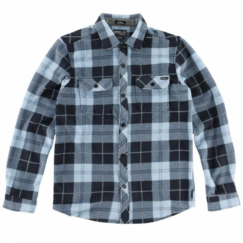 O'NEILL Boys' Glacier Plaid Long-Sleeve Shirt M