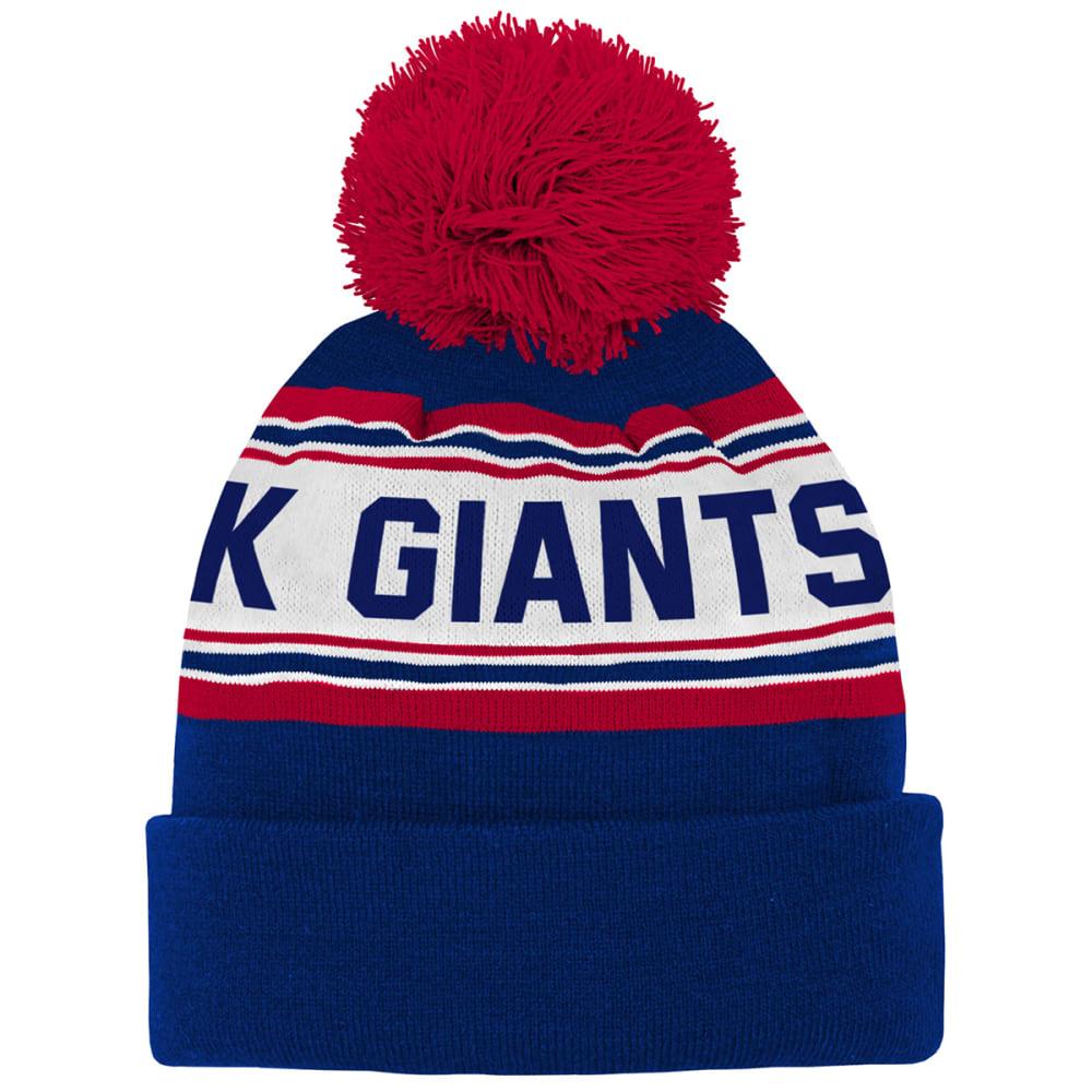 NEW YORK GIANTS Big Kids' Jacquard Cuffed Pom Knit Beanie - ROYAL BLUE