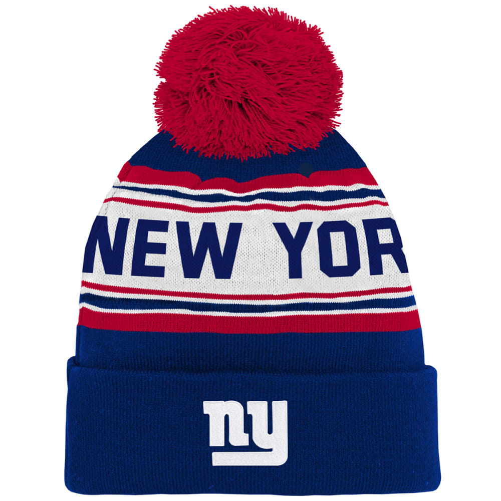 NEW YORK GIANTS Big Kids' Jacquard Cuffed Pom Knit Beanie - ROYAL BLUE