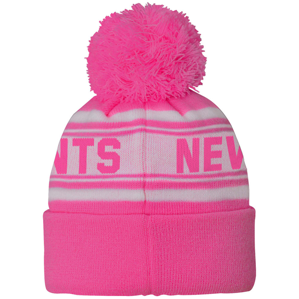 NEW YORK GIANTS Little Girls' Pink Cuffed Pom Knit Beanie - PINK