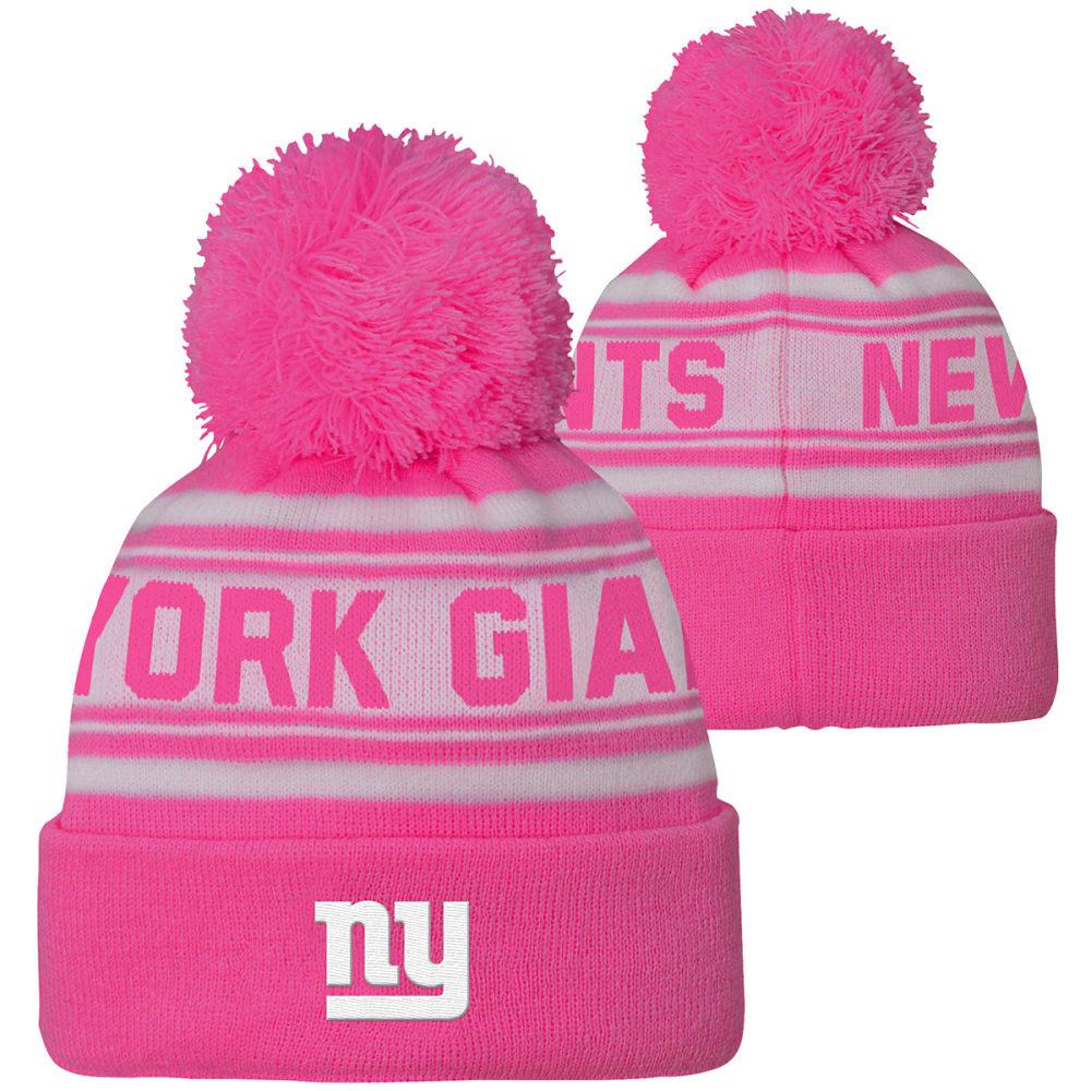 NEW YORK GIANTS Little Girls' Pink Cuffed Pom Knit Beanie - PINK