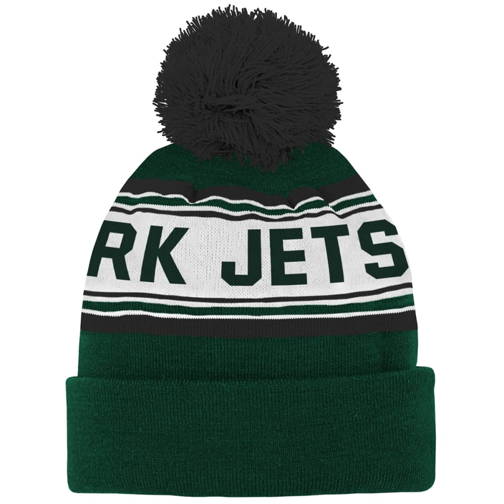 NEW YORK JETS Big Kids' Jacquard Cuffed Pom Knit Beanie - GREEN