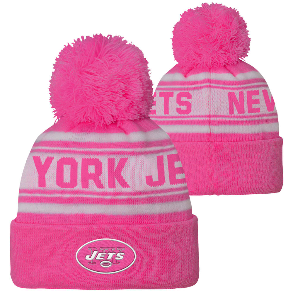 NEW YORK JETS Little Girls' Pink Cuffed Pom Knit Beanie ONE SIZE