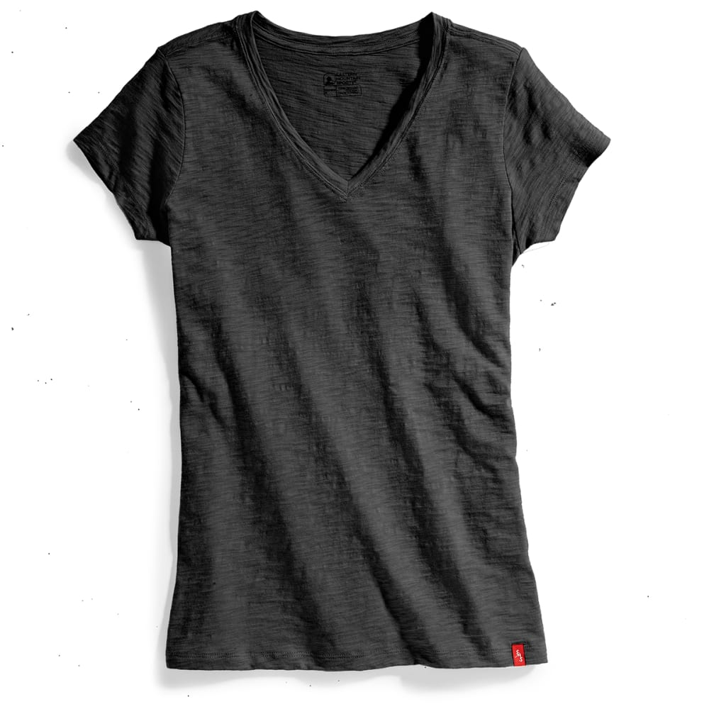 EMS Women's Solid Slub V-Neck Short-Sleeve Tee - BLACK