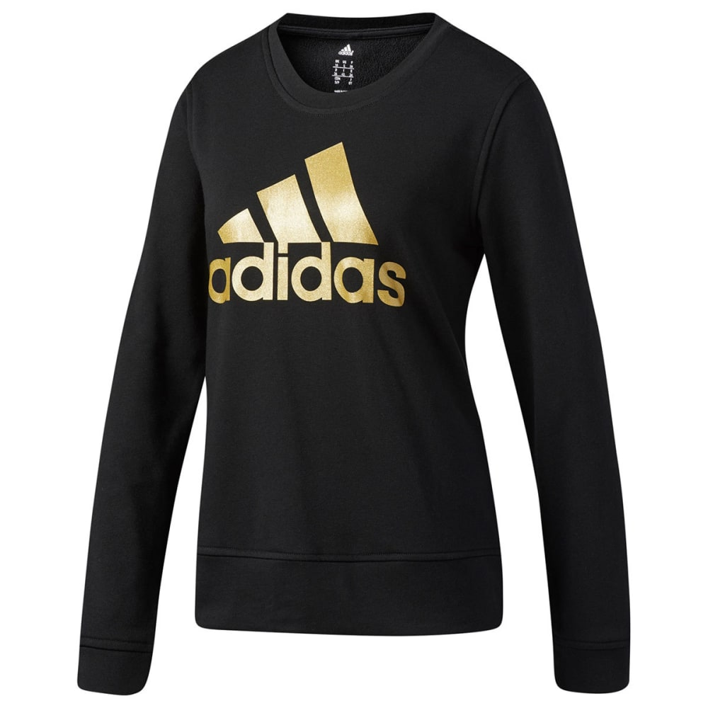ADIDAS Women's Badge of Sport Iridescent Fleece Crew - BLK/MTLLC GLD-CG0939