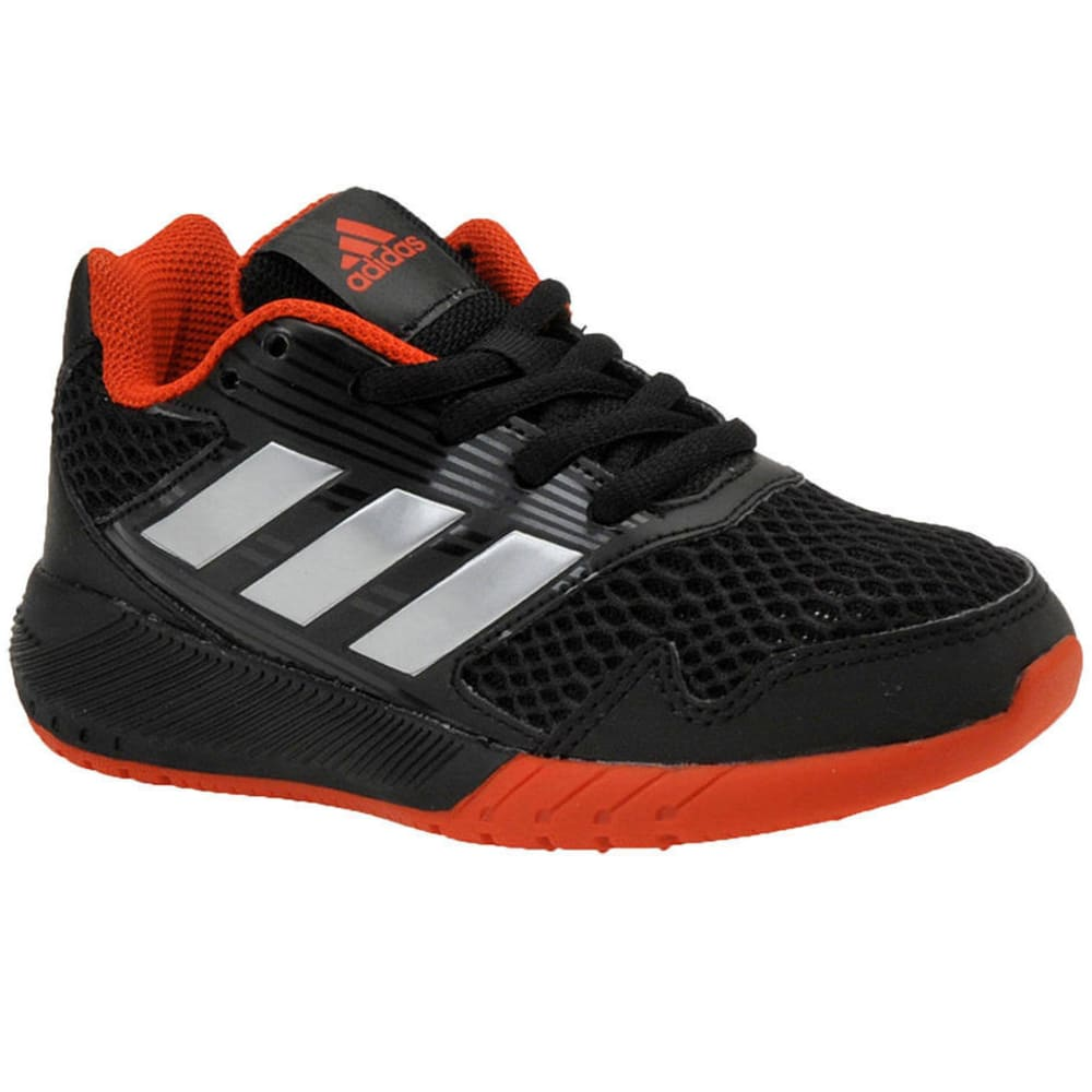 ADIDAS Little Boys' AltaRun K Running Shoes, Black/Silver/Red - BLACK