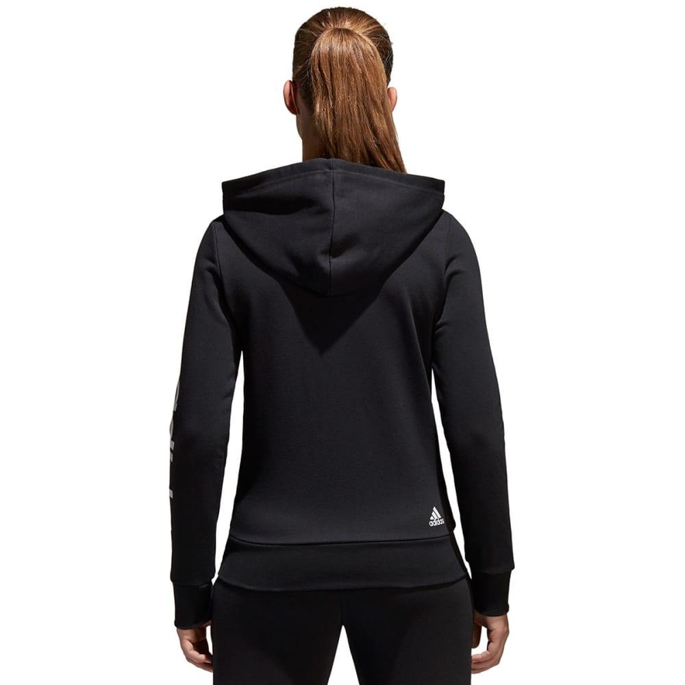 ADIDAS Women's Essentials Linear Full-Zip Hoodie - BLACK/WHITE-S97076