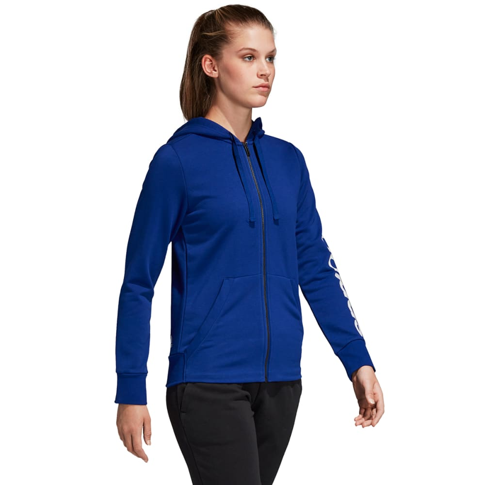 ADIDAS Women's Essentials Linear Full-Zip Hoodie - MYSTRYINK/WHT-CZ5719