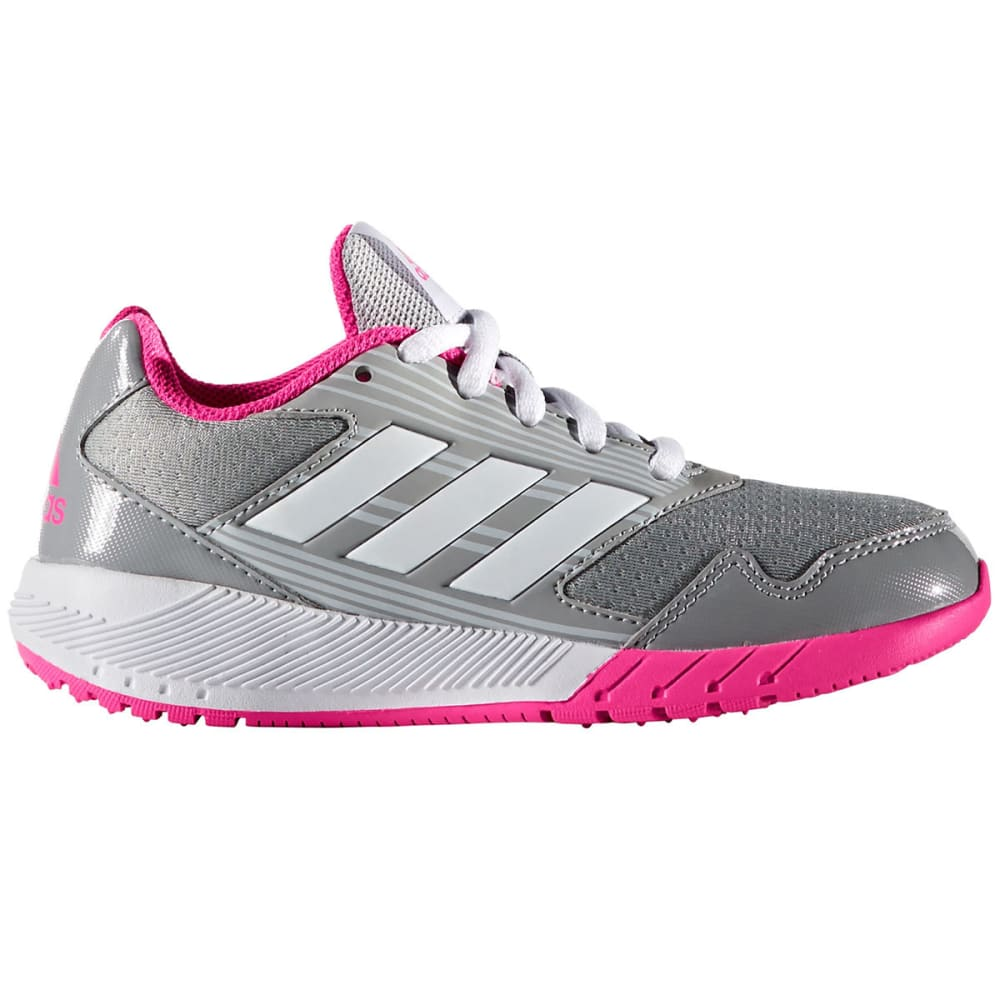 ADIDAS Girls' AltaRun K Running Shoes, Grey/White/Shock Pink 1