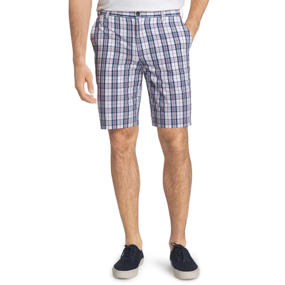 Izod Men's Portsmith Plaid Shorts - White, 30
