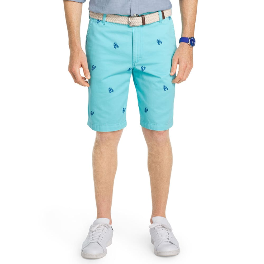 Izod Men's Schiffli Lobster Flat-Front Shorts - Blue, 34