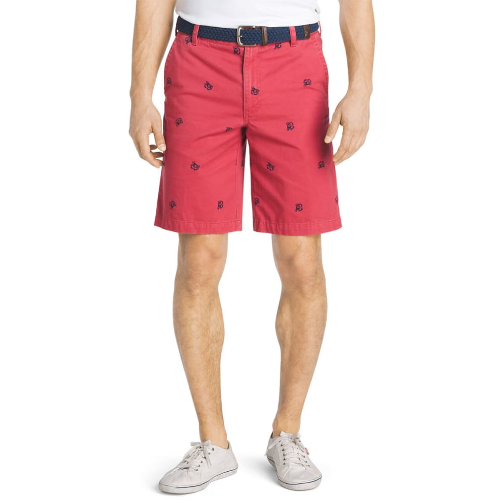 IZOD Men's Schiffli Crab Flat-Front Shorts - SALTWATER RED-648
