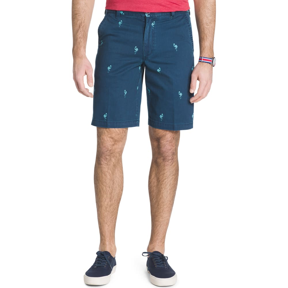 IZOD Men's Schiffli Flamingo Printed Shorts - CADET NVY-412
