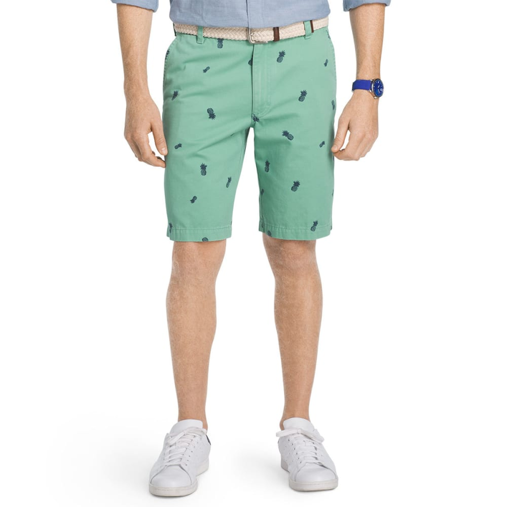IZOD Men's Schiffli Pineapple Printed Shorts - CREME DE MENTHE-370