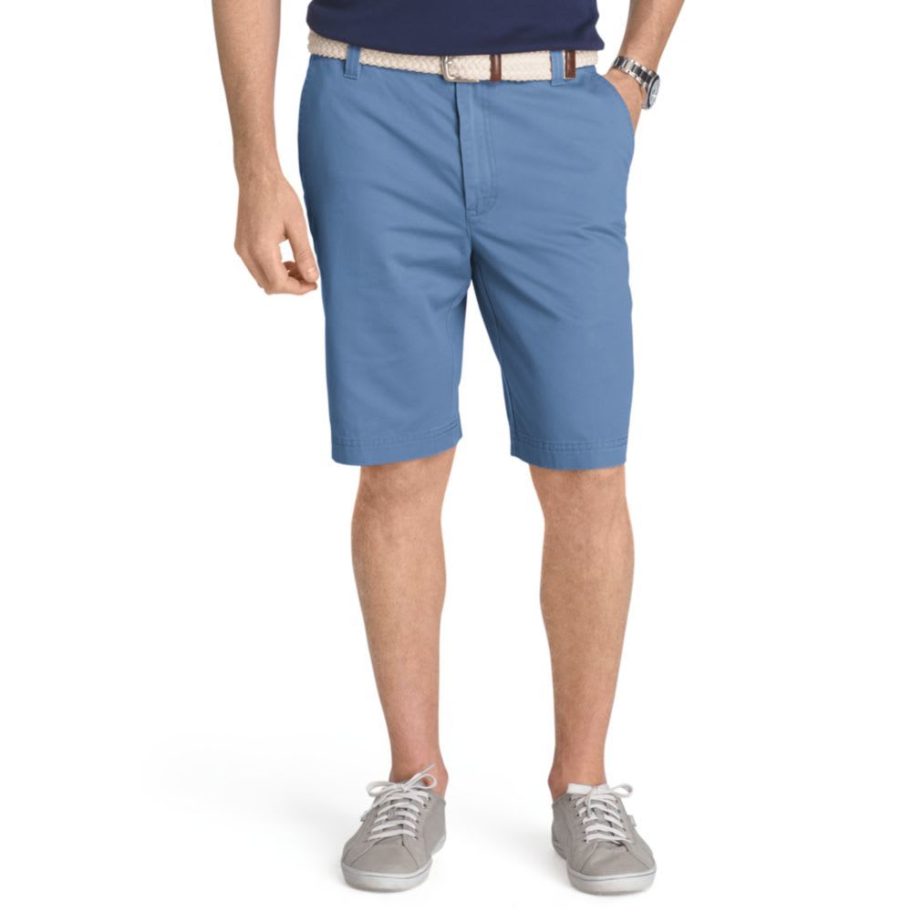 IZOD Men's Saltwater Washed Chino Flat-Front Shorts - FEDERAL BLUE-411