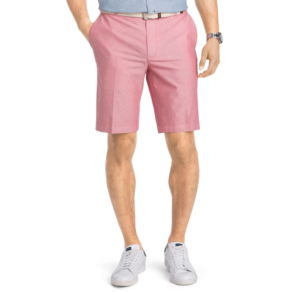Izod Men's Saltwater Oxford Flat-Front Shorts - Red, 38