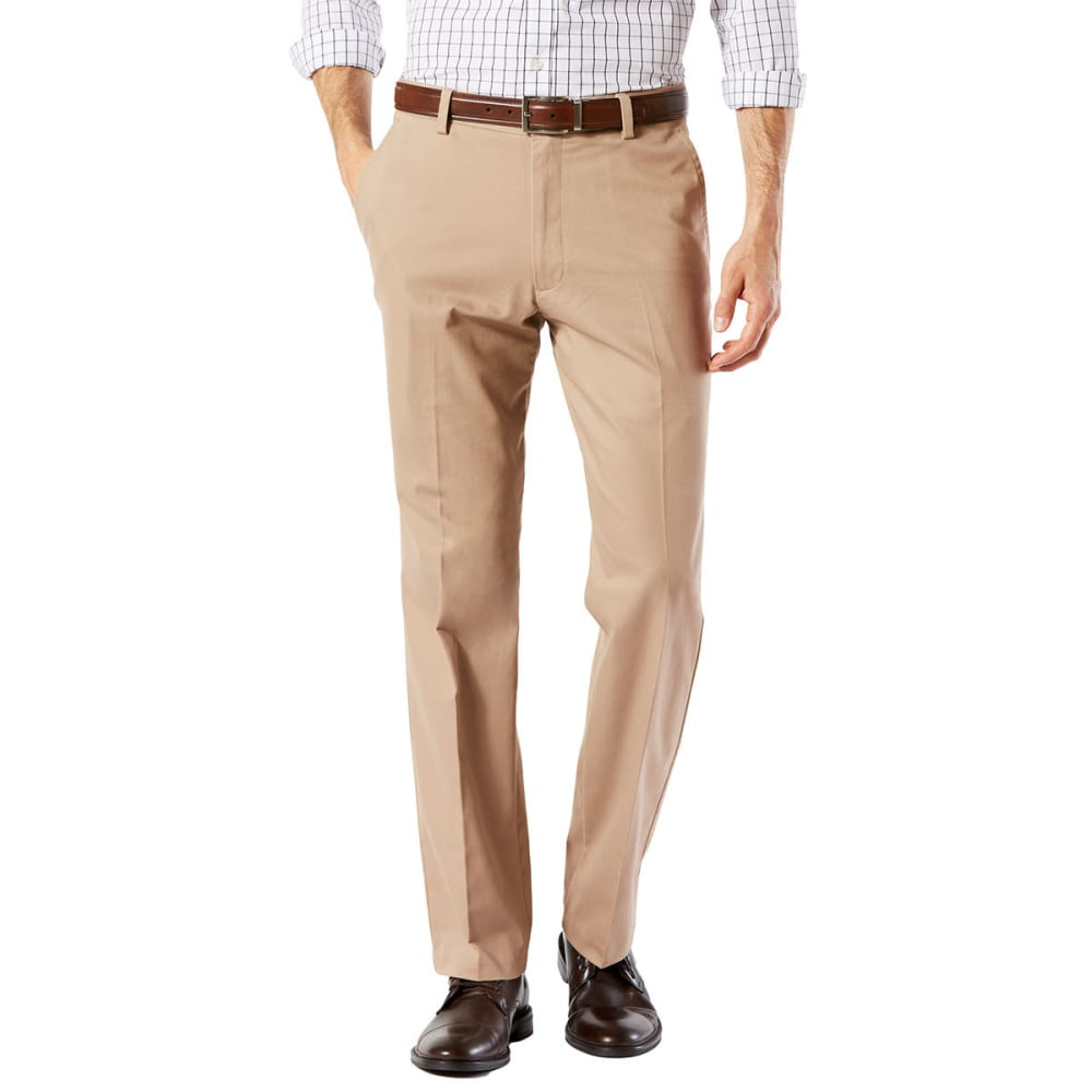 DOCKERS Men's Easy Khaki Straight Stretch Flat-Front Pants - TIMBERWOLF-0001