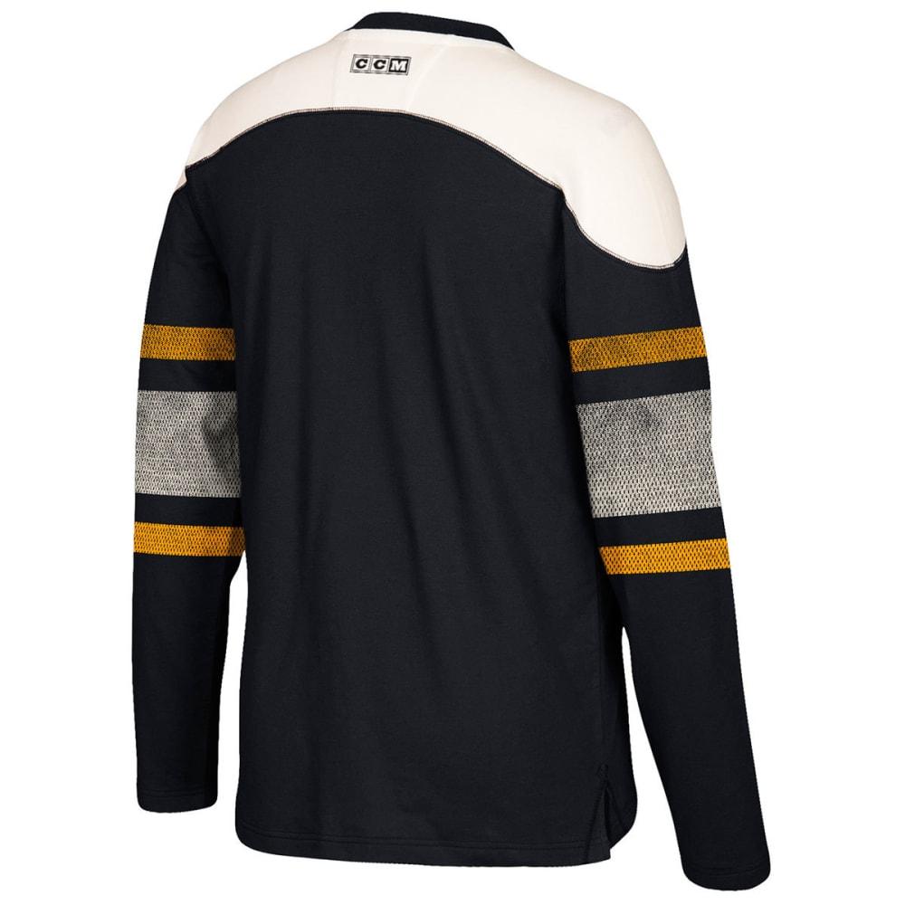 BOSTON BRUINS Men's CCM Applique Crew Long-Sleeve Shirt - BLACK