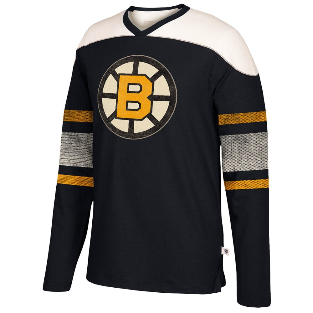 BOSTON BRUINS Men's CCM Applique Crew Long-Sleeve Shirt - BLACK