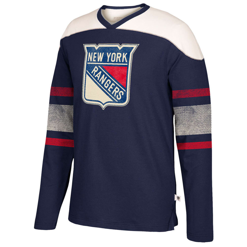 NEW YORK RANGERS Men's CCM Applique Crew Long-Sleeve Shirt - ROYAL BLUE